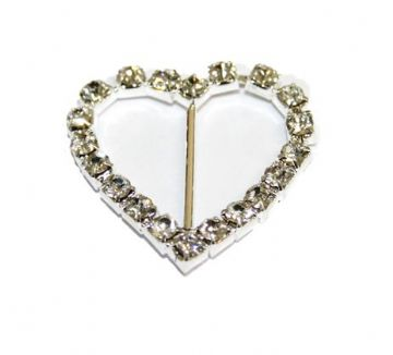 2pcs x 29mm*29mm silver plated  heart shape silder with rhinestone - C8010013